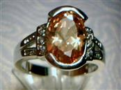 Lady's Orange Gemstone Ring Silvertone 3.07dwt- SIZE 6
